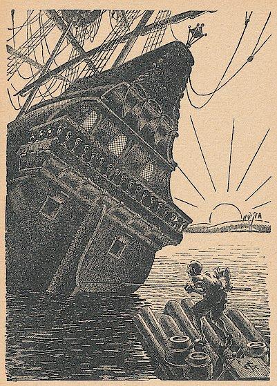 Quelle: Defoe, Daniel: Robinson Crusoe. Für die deutsche Jugend bearbeitet von Friedrich Meister. 18.-27. Tsd. Leipzig: Abel & Müller, [um 1930]