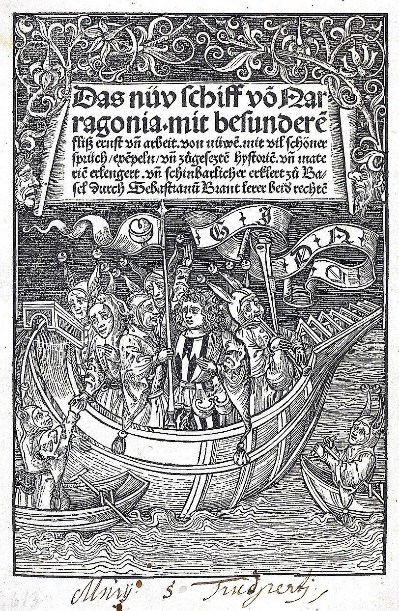 Titelblatt mit Narrenschiff. (Aus: Brant, Sebastian: Das nüv Schiff von Narragonia. Straßburg, 1495. (UB Freiburg, Ink. E 4679))