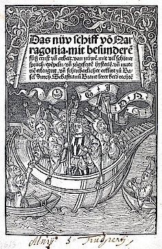 Aus: Brant, Sebastian: Das nüv Schiff von Narragonia. Straßburg, 1495. (UB Freiburg, Ink. E 4679)