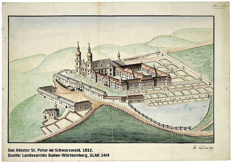 Das Kloster St. Peter im Schwarzwald. 1812. (Landesarchiv BW, GLAK 14/4)