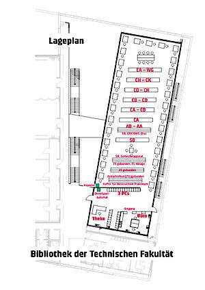 Lageplan der Bibliothek der Technischen Fakultät