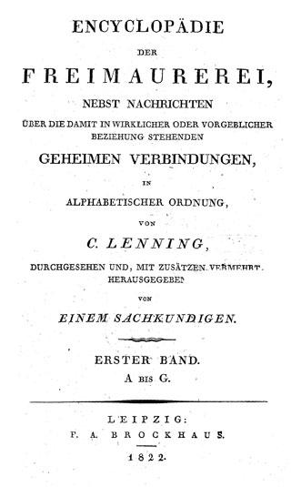 Titelblatt aus: Encyclopädie der Freimaurerei. Von C. Lenning. (UB Freiburg, F 778,wm-1/3)